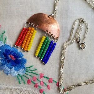 Half Moon Copper Rainbow Necklace